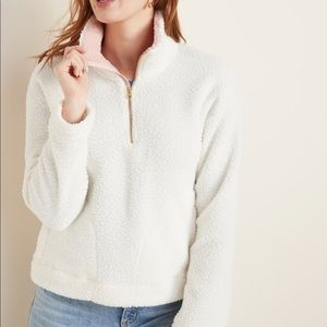 Old Navy White Plush Sherpa Pullover